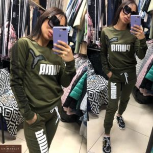Купить женский спортивный костюм цвета хаки Puma из трикотажа с сеткой (размер 42-50) недорого