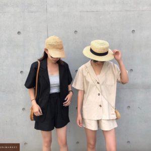 Замовити чорний, бежевий жіночий костюм з льону двійка: шорти + сорочка на літо онлайн