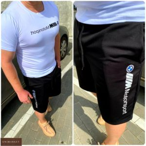 Приобрести белый мужской комплект bmw motosport: футболка и шорты (размер 46-54) по низким ценам