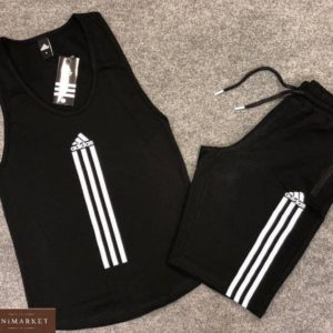 Заказать черный мужской легкий костюм adidas: майка+шорты из вискозы по скидке