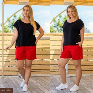 Купить черный женский трикотажный костюм с красными шортами (размер 42-58) по скидке