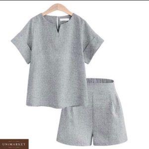 Заказать серый женский костюм из льна: шорты с футболкой на манжетах (размер 42-50) дешево