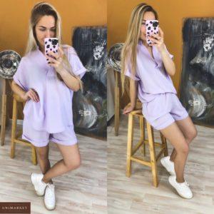 Придбати ліловий жіночий костюм двійка: шорти + подовжена сорочка вільного крою (розмір 42-48) по знижці