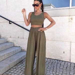 Приобрести топ +широкие штаны женский трикотажный костюм цвета хаки выгодно