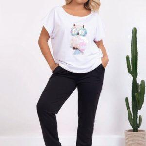 Купить прогулочный костюм женский с белой футболкой с принтом+штаны из двухнитки размера 48-58 XL+ по скидке