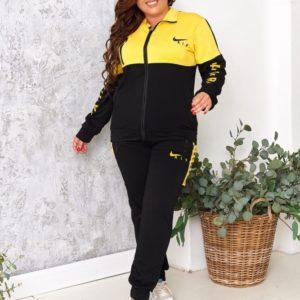 Заказать желтый спортивный костюм женский Nike Air на змейке (размер 48-54) по скидке