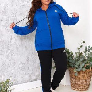 Приобрести синего цвета спортивный костюм Adidas с черными штанами (размер 48-54) женский выгодно
