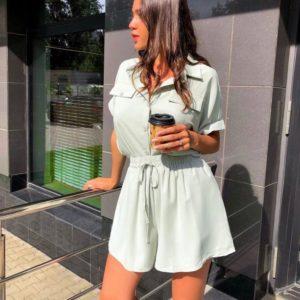 Придбати фісташки кольору костюм для жінок: сорочка з шортами (розмір 42-48) на літо дешево