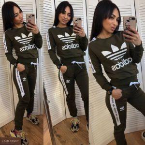 Заказать трикотажный костюм тройка цвета хаки для женщин Adidas (размер 42-50) в Украине