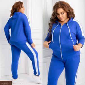 Купить электрик цвет спортивный летний костюм с капюшоном женский (размер 48-62) недорого