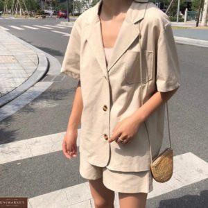 Купити жіночий костюм бежевий з льону двійка: шорти + сорочка онлайн
