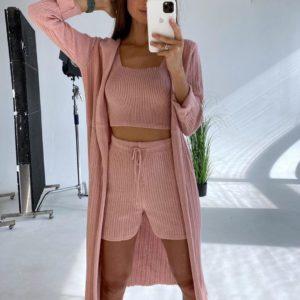 Купити рожеві в'язані шорти + топ з бавовни вигідно для жінок розмірів 42-46