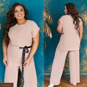 Заказать капучино женский легкий брючный костюм с элегантным контрастным бантиком (размер 48-66) недорого
