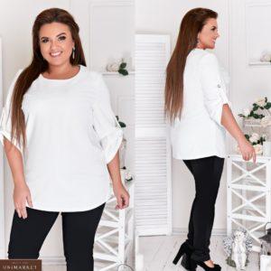 Приобрести белый женский брючный костюм со структурной блузкой (размер 48-66) недорого