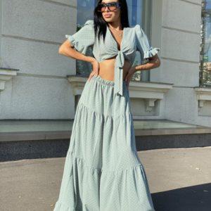 Купить женский Костюм с юбкой в пол в горошек голубого цвета с рукавами-фонариками по скидке