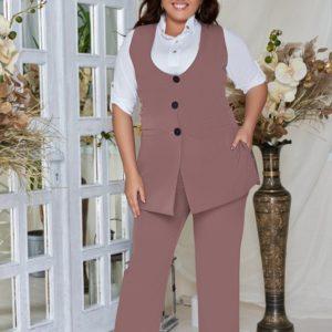 Заказать капучино женский деловой костюм: жилет + брюки из костюмной ткани (размер 48-62) недорого