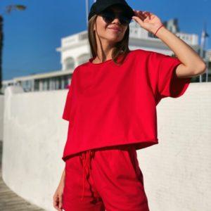 Приобрести красный для женщин Спортивный костюм на лето из трикотажа с шортами (размер 42-48) выгодно