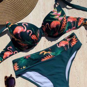 Купить зеленый женский купальник с принтом цветы и фламинго (размер 48-56) выгодно