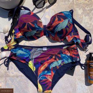 Купить синий женский раздельный купальник с принтом листья (размер 48-56) выгодно