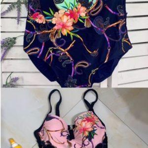 Купить ментол, пудра женский моделирующий купальник с цветочным принтом (размер 48-56) по низким ценам