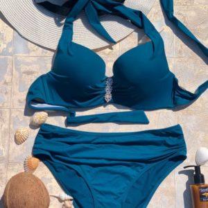 Купить изумруд женский раздельный купальник халтер с высокими плавками (размер 48-56) недорого