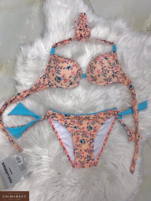 Заказать персик женский купальник на завязках в мелкий цветочный принт недорого