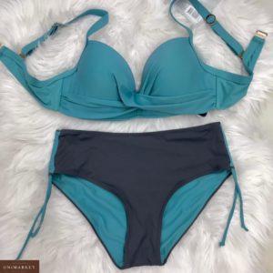 Купить морской женский однотонный раздельный купальник с широкими плавками (размер 42-50) дешево