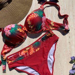 Заказать бордо женский купальник с принтом цветы и фламинго (размер 48-56) выгодно