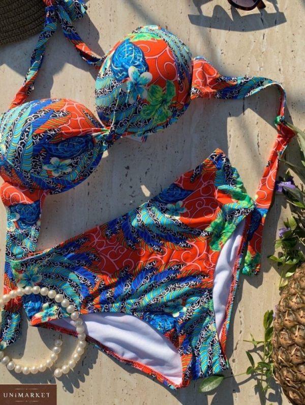 Приобрести синий/оранж женский раздельный купальник халтер с широкими плавками (размер 50-58) по скидке
