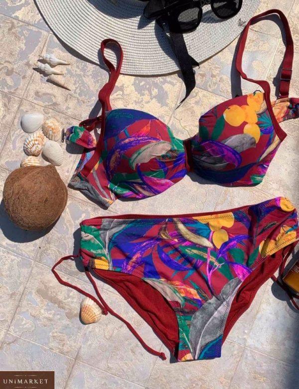 Купить бордо женский принтованный купальник с широкими плавками (размер 48-56) по низким ценам