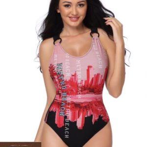 Заказать красный женский слитный купальник с принтом город (размер 42-50) по низким ценам
