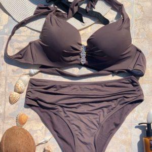 Приобрести мокко женский раздельный купальник халтер с высокими плавками (размер 48-56) выгодно