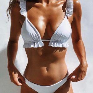 Приобрести белый женский раздельный купальник с рюшами выгодно