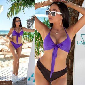 Заказать фиолетовый женский купальник тройка: лиф и два вида плавок (размер 42-48) недорого