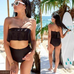 Купить черный женский купальник бандо с широкими высокими плавками в интернете