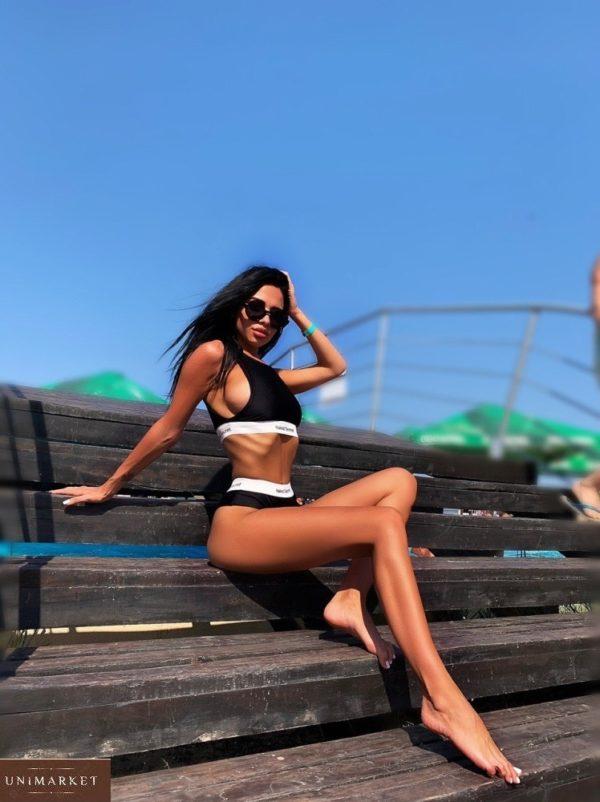 Заказать черный женский купальник-тройка в спортивном стиле: два топа+плавки (размер 40-50) недорого
