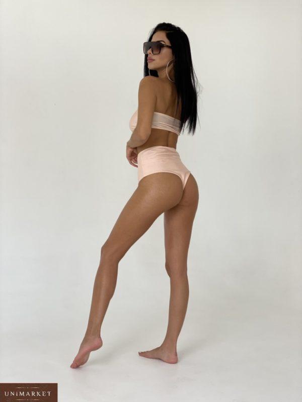 Приобрести беж женский яркий купальник бандо без лямок (с чашкой, без чашки) выгодно