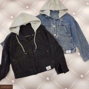Купить черную, синюю женскую джинсовую куртку со съемным капюшоном из трикотажа по скидке