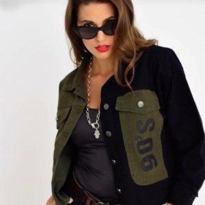 Купить черную женскую двухцветную джинсовую куртка 90s в Украине