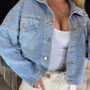 Купить голубую женскую джинсовую куртку oversize с бахромой из камней дешево