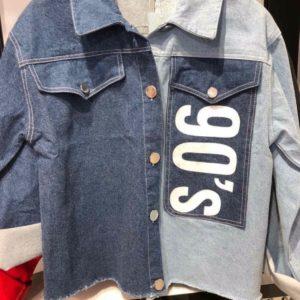Приобрести синюю женскую двухцветную джинсовую куртка 90s по низким ценам