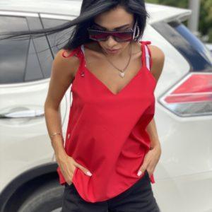 Приобрести для женщин базовую майку с лямками-завязками красного цвета на лето хорошего качества