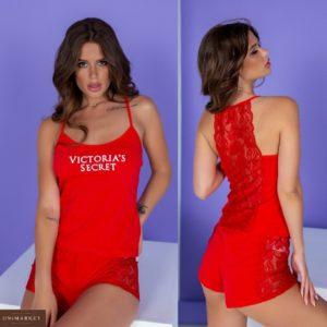 Купить красного цвета хлопковую пижаму с кружевом Victoria's Secret (размер 42-62) выгодно для женщин