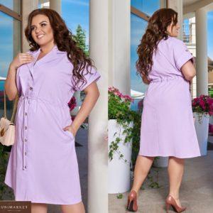 Купить сиреневое женское платье-рубашка из натурального льна (размер 48-66) в Одессе