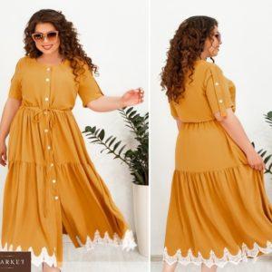 Приобрести горчичное женское платье-рубашка длины макси с контрастным кружевом (размер 48-66) по скидке