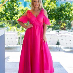 Приобрести женское нежное розовое платье на запах с поясом (размер 48-64) недорого с открытыми плечами