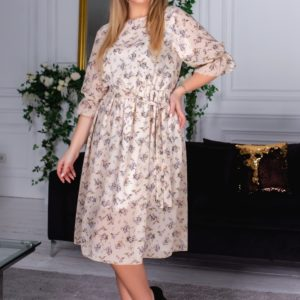 Приобрести шифоновое платье миди в цветы бежевого цвета для женщин с рукавами 3/4 (размер 48-60) на лето дешево