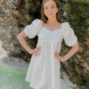Купить белое платье из хлопка на лето с вышивкой для женщин и перфорацией онлайн