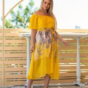 Купить желтое шифоновое платье с принтом для женщин с открытыми плечами (размер 48-62) на лето выгодно