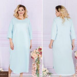 Заказать голубое женское свободное летнее платье миди с рукавом 3/4 (размер 48-66) по скидке
